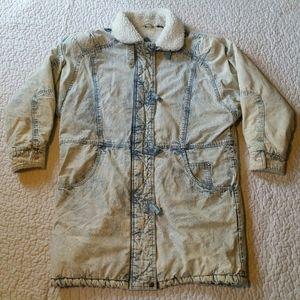 Vintage Andy Johns Large Acid Wash Long Jacket